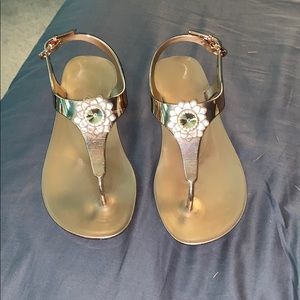 Michael Kors Miley Jelly Flat Sandals Rose Gold
